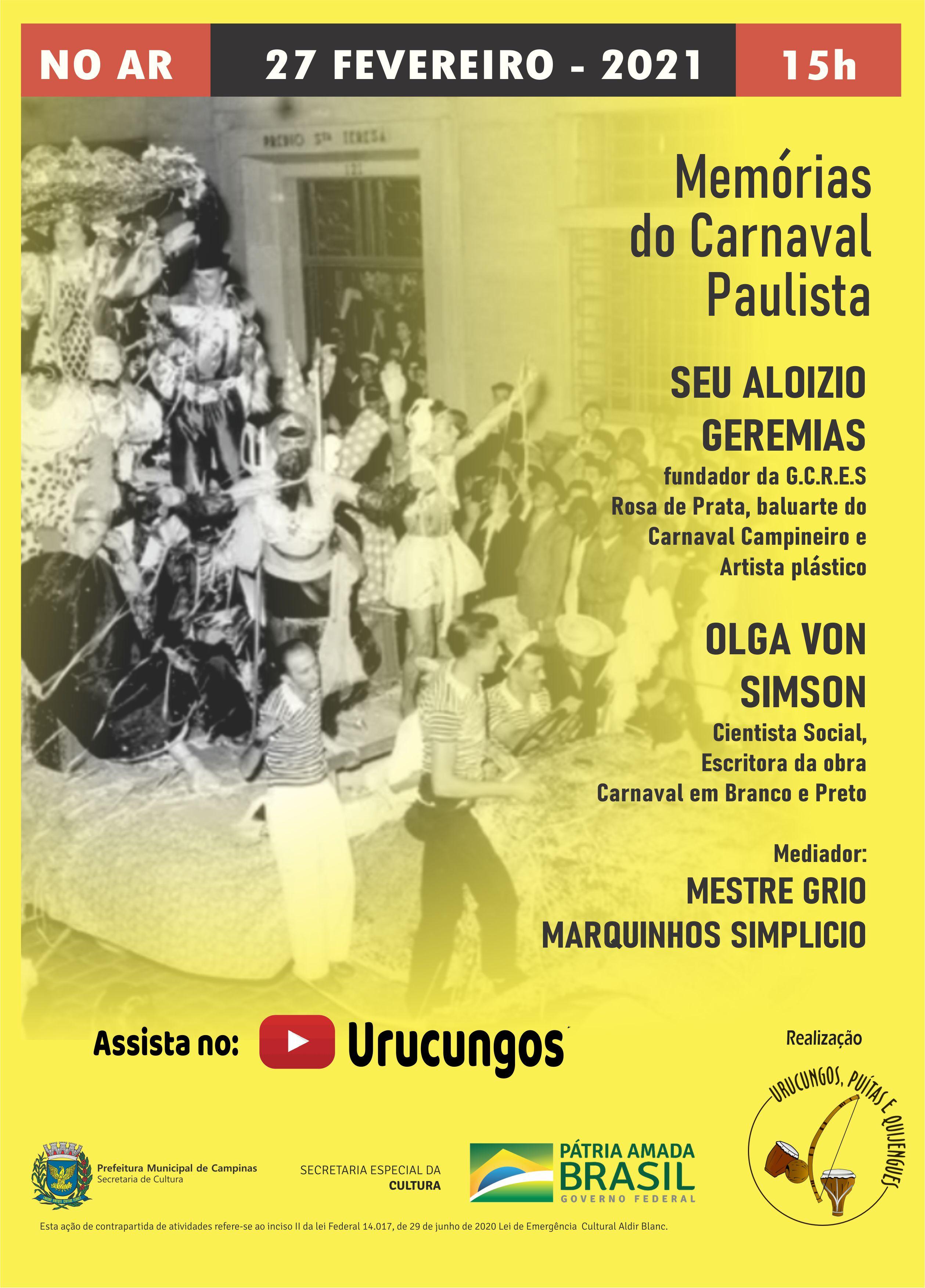Live no youtube debate as Memórias do Carnaval Paulista
